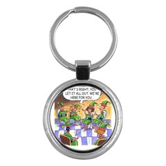 Elf Help Group Key Chain (round) by mikestoons