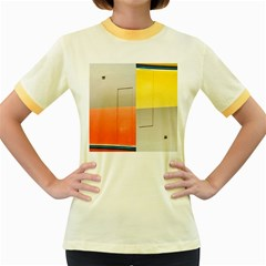 Geometry Colored Ringer Womens  T Shirt by artposters