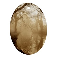 Misty Morning Ceramic Ornament (oval) by artposters