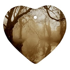 Misty Morning Ceramic Ornament (heart) by artposters