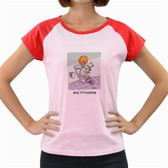 Multitasking Clown Colored Cap Sleeve Raglan Womens  T Shirt by mikestoons