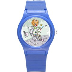 Multitasking Clown Round Plastic Sport Watch Small by mikestoons