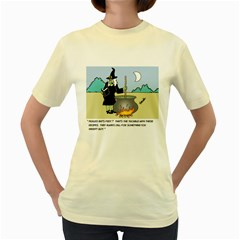 Witch s Recipe Yellow Womens  T Shirt by ColemantoonsFunnyStore