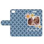 flower  kids - Apple iPhone 4/4S Woven Pattern Leather Folio Case