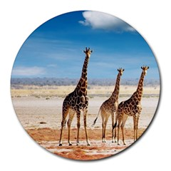 Giraffes Round Mousepad by FeaturedDesigns