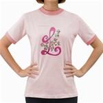 Letter L Symbol Women s Fitted Ringer T-Shirt