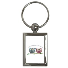Owl Always Love You, Cute Owls Key Chain (rectangle) by DigitalArtDesgins