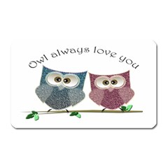 Owl Always Love You, Cute Owls Large Sticker Magnet (rectangle)