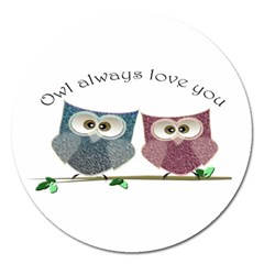 Owl Always Love You, Cute Owls Extra Large Sticker Magnet (round) by DigitalArtDesgins