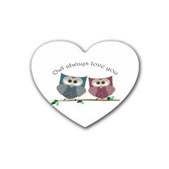 Owl Always Love You, Cute Owls Rubber Drinks Coaster (heart) by DigitalArtDesgins