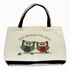 Owl Always Love You, Cute Owls Twin Sided Black Tote Bag by DigitalArtDesgins