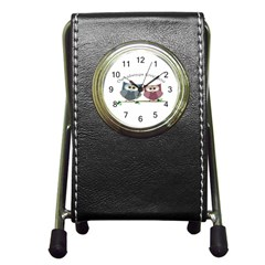 Owl Always Love You, Cute Owls Stationery Holder Clock
