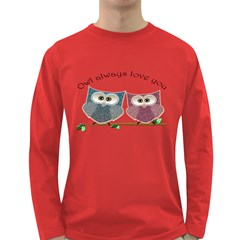 Owl Always Love You, Cute Owls Dark Colored Long Sleeve Mens'' T Shirt by DigitalArtDesgins