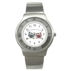 Owl Always Love You, Cute Owls Stainless Steel Watch (round) by DigitalArtDesgins
