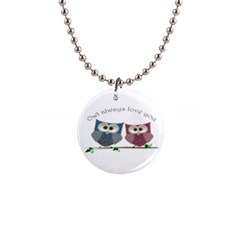 Owl Always Love You, Cute Owls Mini Button Necklace