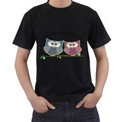 Owl Always Love You, Cute Owls Black Mens'' T Shirt by DigitalArtDesgins