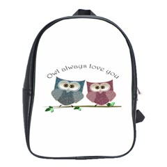 Owl Always Love You, Cute Owls Large School Backpack by DigitalArtDesgins