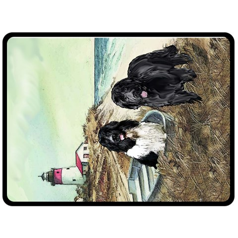 Two Newfs And Boat By Kathy Reed   Fleece Blanket (large)   Bbww1zstlp45   Www Artscow Com 80 x60 Blanket Front