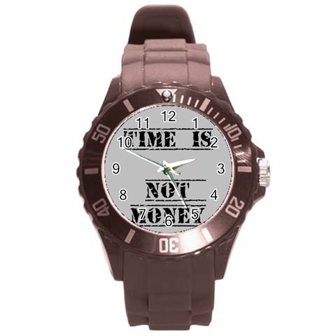 Time  Is Not Money Watch By Riksu   Round Plastic Sport Watch (l)   Ddelys5lxvsr   Www Artscow Com Front