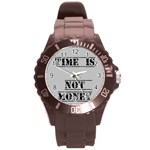 time  is not money-watch - Round Plastic Sport Watch (L)