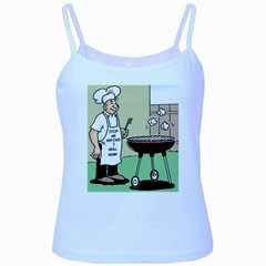 Stop Me Before I Grill Again Baby Blue Spaghetti Top by ColemantoonsFunnyStore