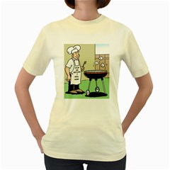 Stop Me Before I Grill Again Yellow Womens  T Shirt