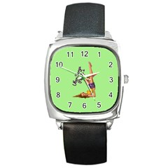 Pin Up Girl 4 Black Leather Watch (Square) by UberSurgePinUps