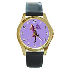 Pin Up 3 Black Leather Gold Rim Watch (round) by UberSurgePinUps