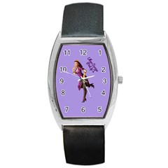 Pin Up 3 Black Leather Watch (tonneau) by UberSurgePinUps