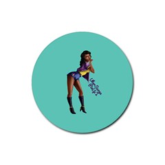 Pin Up 2 Rubber Drinks Coaster (round)