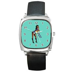 Pin Up 2 Black Leather Watch (square) by UberSurgePinUps