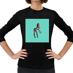 Pin Up 2 Dark Colored Long Sleeve Womens'' T Shirt