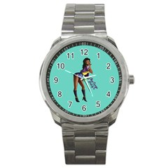 Pin Up 2 Stainless Steel Sports Watch (round) by UberSurgePinUps