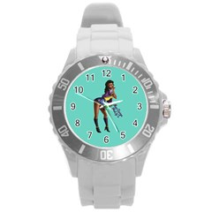Pin Up 2 Round Plastic Sport Watch Large by UberSurgePinUps
