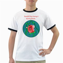 A Rose Among Pricks White Ringer Mens'' T Shirt by ColemantoonsFunnyStore