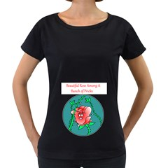 A Rose Among Pricks Black Oversized Womens'' T Shirt by ColemantoonsFunnyStore