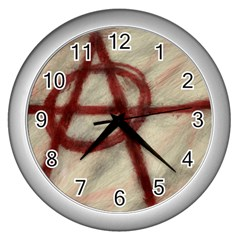Anarchy Print Silver Wall Clock by VaughnIndustries