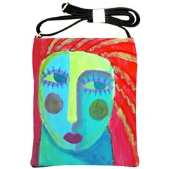 Abstract Face Shoulder Bag Cross Shoulder Sling Bag by paintedpurses