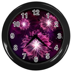 Love Flowers Dancing Together At Night Wall Clock (Black) by FeaturedDesigns
