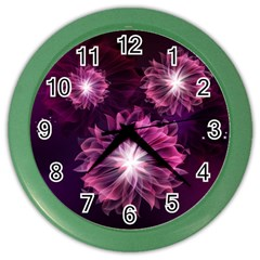 Love Flowers Dancing Together At Night Color Wall Clock by FeaturedDesigns