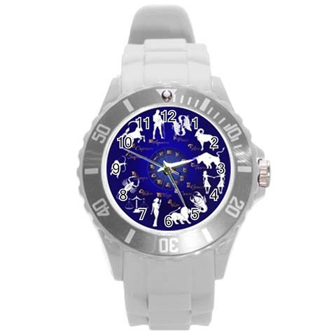 Horoscope By Divad Brown   Round Plastic Sport Watch (l)   6clg16ic1e2q   Www Artscow Com Front