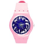 horoscope, star - Round Plastic Sport Watch (M)