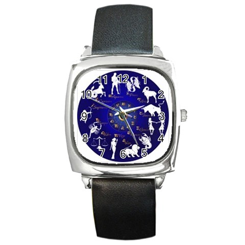 Horoscope  By Divad Brown   Square Metal Watch   9w4zybi2r1yn   Www Artscow Com Front