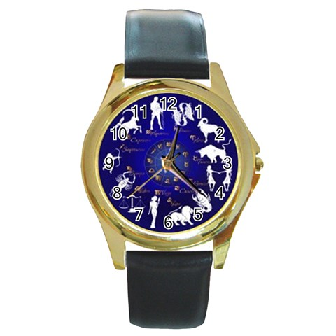 Horoscope By Divad Brown   Round Gold Metal Watch   Ezv3xx97mb22   Www Artscow Com Front