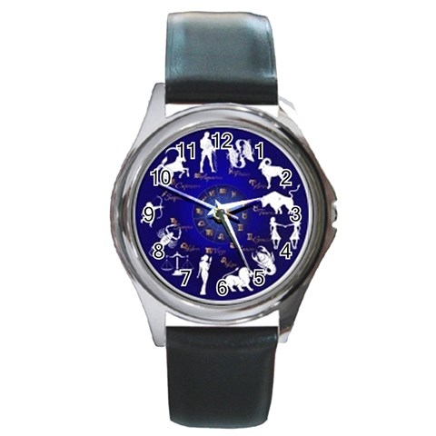 Horoscope By Divad Brown   Round Metal Watch   0wv8n6is5z4w   Www Artscow Com Front