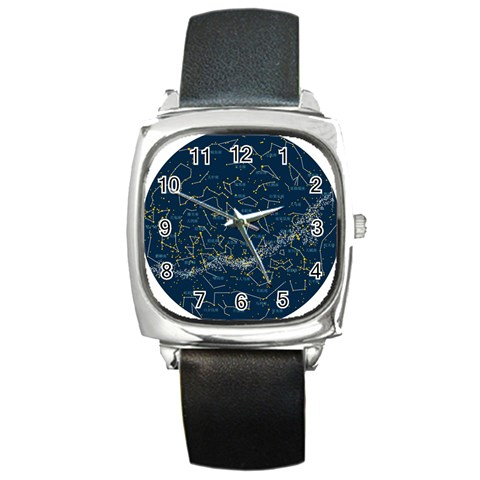 Horoscope  By Divad Brown   Square Metal Watch   Q1lztiv0kq38   Www Artscow Com Front