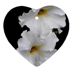 White Peonies   Ceramic Ornament (heart) by Elanga