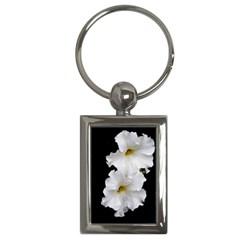 White Peonies   Key Chain (rectangle) by Elanga
