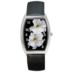 White Peonies   Black Leather Watch (tonneau) by Elanga