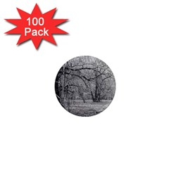 Black And White Forest 100 Pack Mini Magnet (round) by Elanga